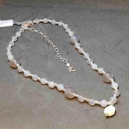 Collana donna in Argento rosè Perle di acqua dolce e Agata Kikilia KGC606