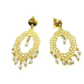 Orecchini donna in Oro giallo e Perline