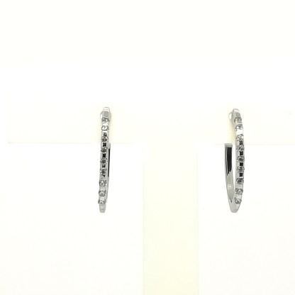 Orecchini donna in Oro bianco e Zirconi Campanella Ovale