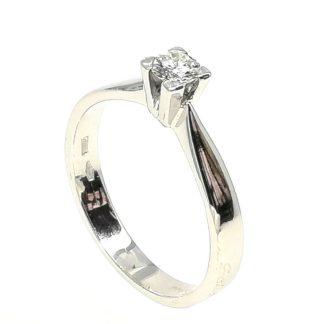 Anello donna Solitario in Oro bianco e Diamanti