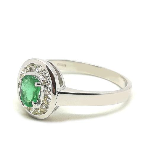 Anello donna Ovale in Oro bianco con Smeraldo e Diamanti 0036G
