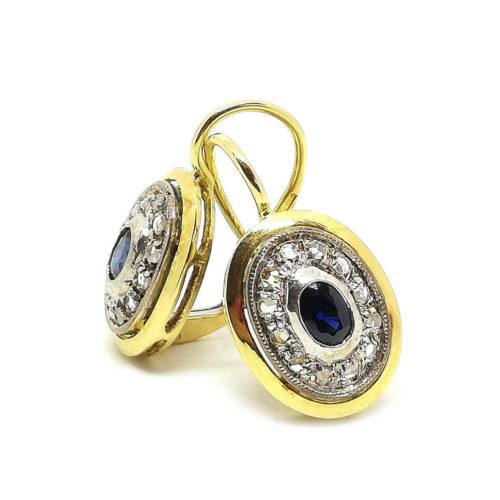 Orecchini donna stile Antico in Oro giallo Argento e Diamanti
