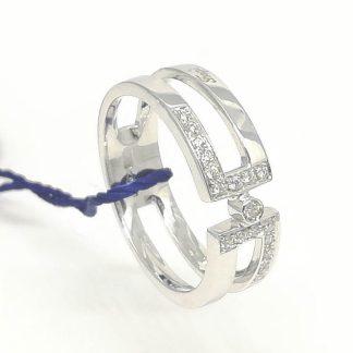 Anello Fascia in Oro bianco e Diamanti FoGi