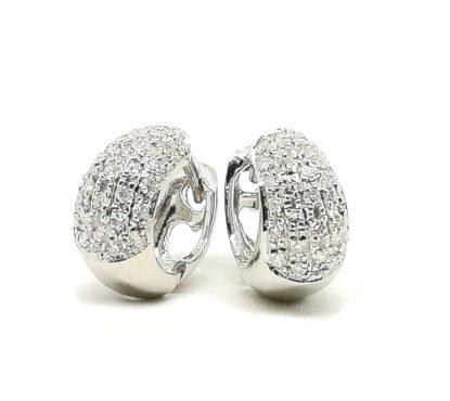 Orecchini a Cerchio Campanella in Oro bianco e Diamanti a Pavè