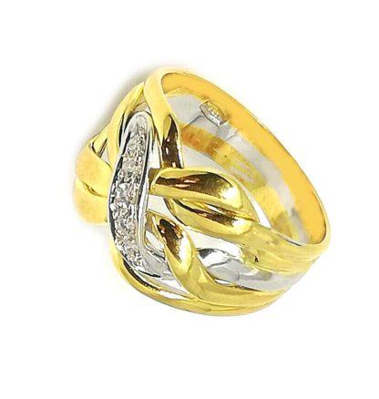 Anello donna Fascia Intreccio in Oro giallo e Oro bianco con Diamanti Salvini