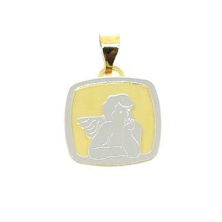 Ciondolo in Oro giallo e Oro bianco Angelo Pensatore