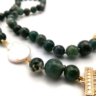 Collana Multifilo in Pietre Dure con Perle di Acqua dolce Agata muschiata e Cristalli