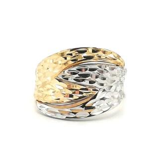 Anello donna Fascia in Oro giallo e Oro bianco Diamantato