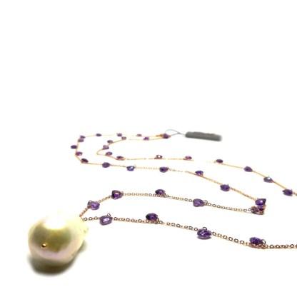 Collana in Argento Rosè Perle di acqua dolce e Pietre colorate Kikilia Fashion