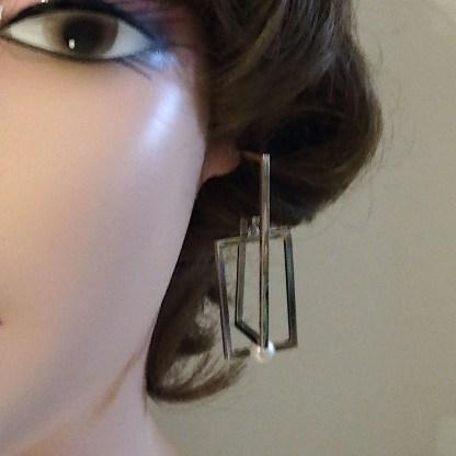 Orecchini in Argento e Perle di Acqua dolce Kikilia Fashion Rettangolo