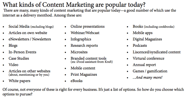 popular types of content marketing