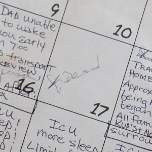 Calendar kept by daughter Lisa Sturm