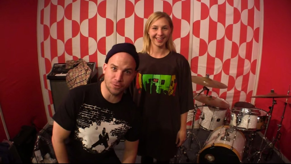 EpicLloyd and Mary Doodles sporting ERB Merchandise designs in Epic Rap Battles of History Studio Live Room Designed by Melissa Judson