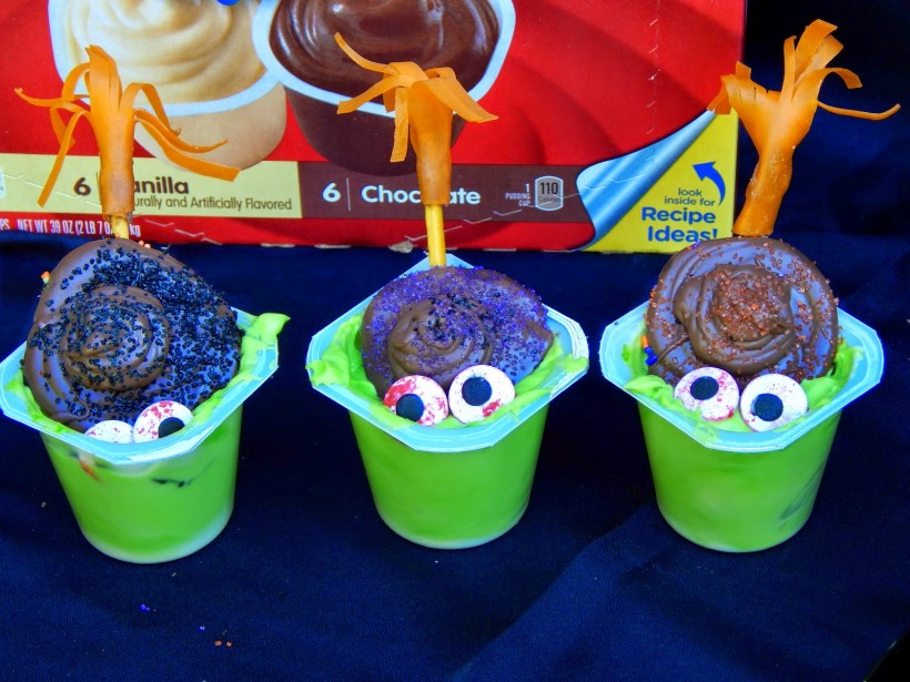 Melted Witch Halloween Pudding Cup Dessert Idea #shop #SnackPackMixins
