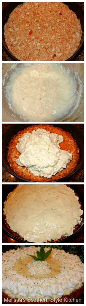 Step-by-step preparation images and ingredients for key lime tart