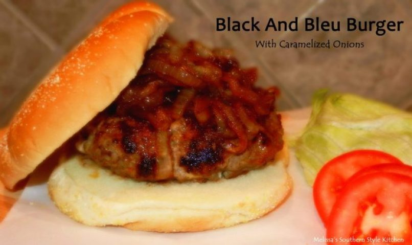 Black And Blue Burger With Caramelized Onions