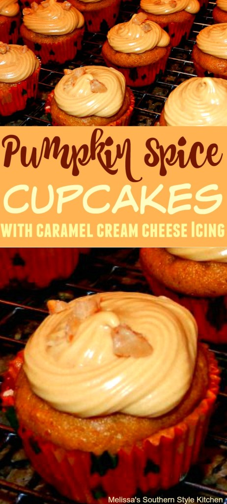 Pumpkin Spice Cupcakes with Caramel Cream Cheese Icing