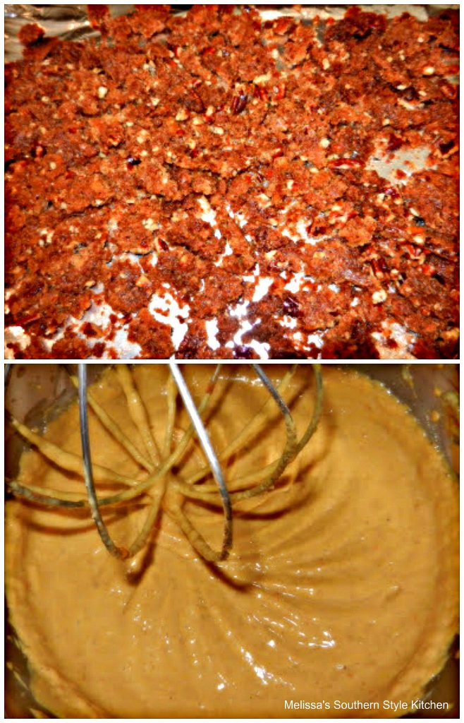ingredients to make pumpkin cheesecake in a bowl