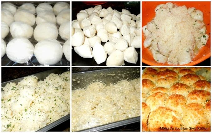 step-by-step images and ingredients for pull apart bread