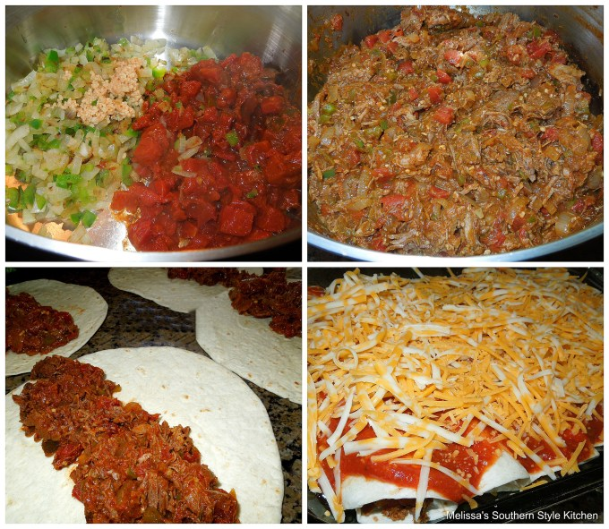 Step-by-step preparation images and ingredients for beef enchiladas