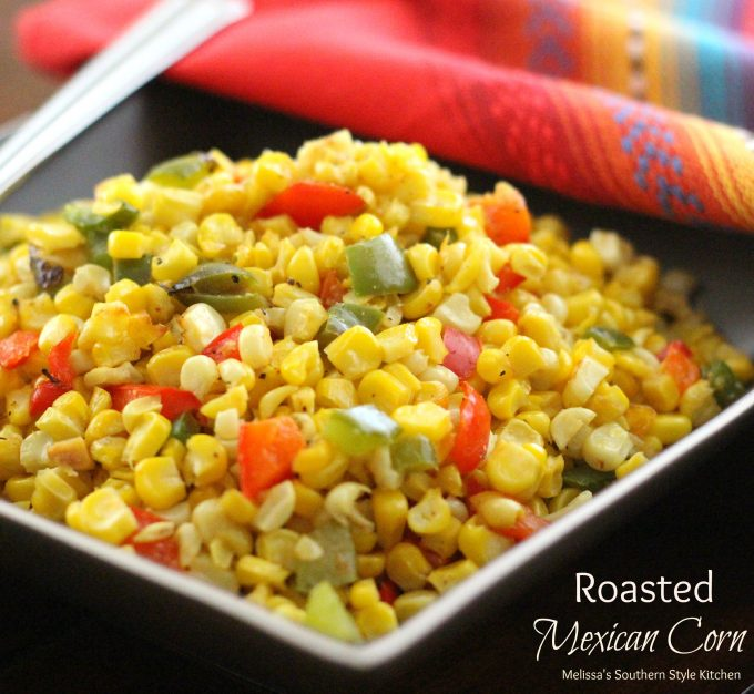 Corn with bell peppers in a bowl