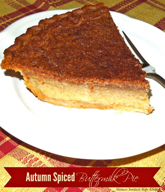 Single piece of Autumn Spiced Buttermilk Pie on a plate