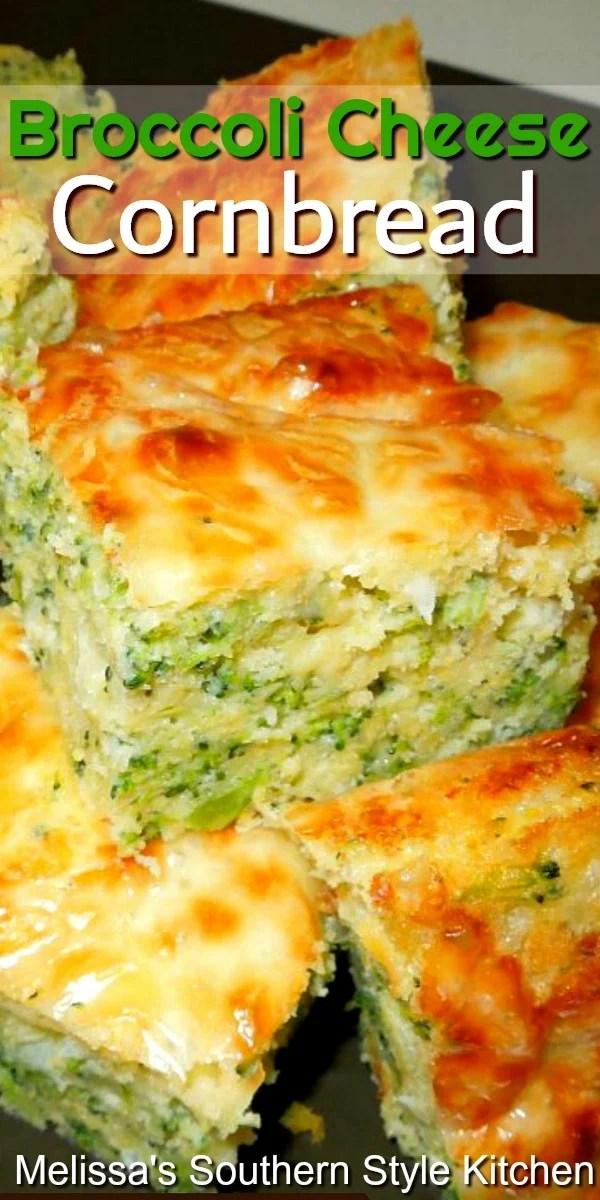 Rich and cheesy Broccoli Cheese Cornbread #cornbread #cornbreadrecipes #broccoli #broccolicheese #broccolicheddar #cheese #breadrecipes #southernfood #southernrecipes #cornbread #dinnerideas #sidedishrecipes