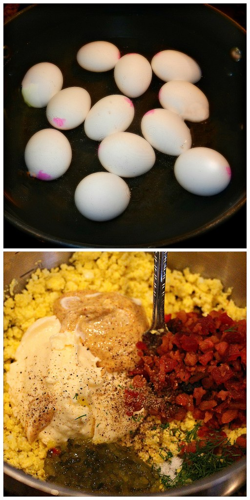 Step-by-step pictures of preparation of Bacon-Dill Egg Salad with Pimentos