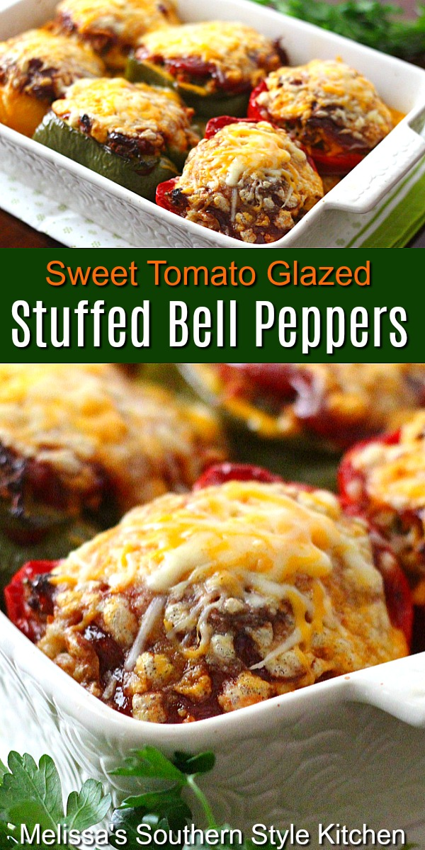 These open-faced Sweet Tomato Glazed Stuffed Bell Peppers bring farmstand flavors to the dinner table #stuffedpeppers #bellpeppers #peppers #hamburgerstuffedpeppers #glazedstuffedpeppers #dinner #dinnerideas #southernfood #southernrecipes #easygroundbeefrecipes
