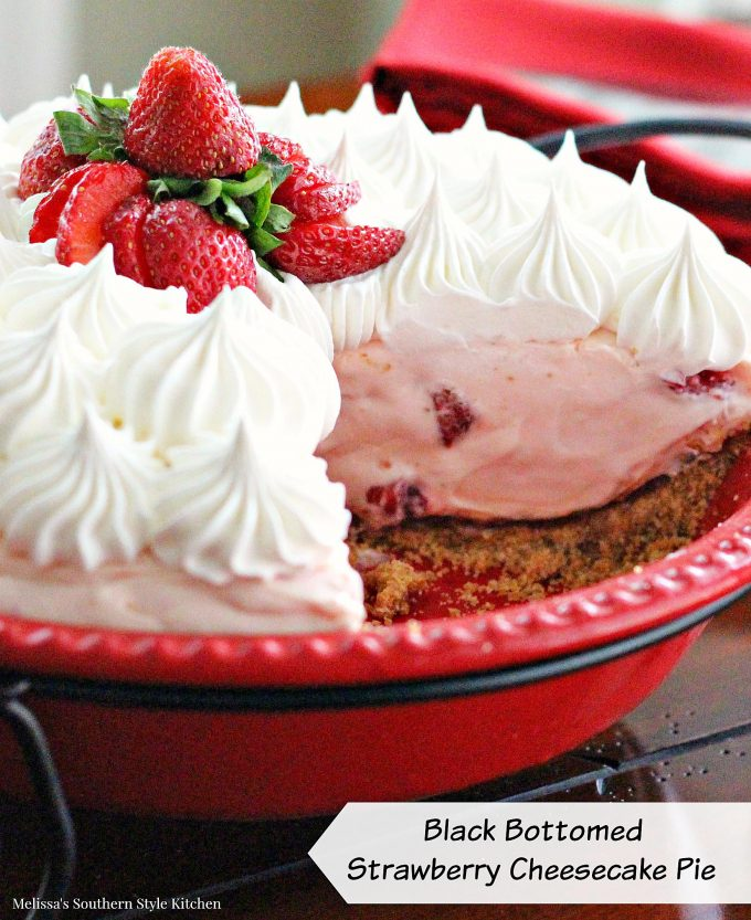 Black Bottomed Strawberry Cheesecake Pie