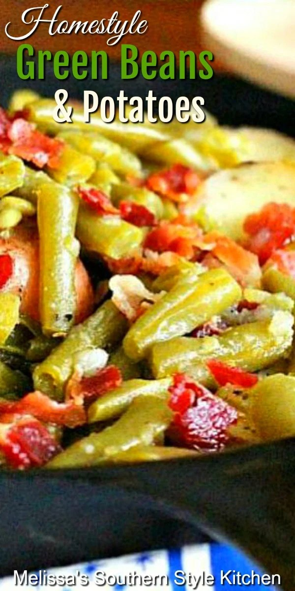 You can't resist the homestyle flavor of these fresh green beans and potatoes cooked together in bacon drippings #freshgreenbeans #newpotatoes #greenbeansandpotatoes #bacon #summervegetables #sidedishrecipes #dinnerideas #dinner #southernfood #southernrecipes #beans
