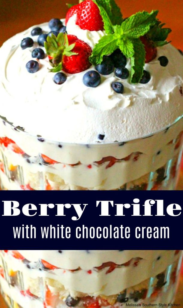 Prepared berry trifle in a trifle bowl