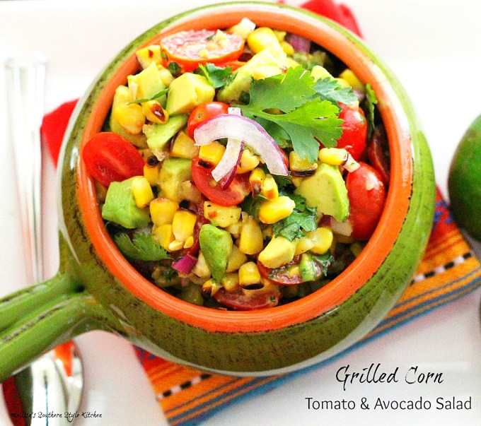 Grilled Corn Salad in a serving dish