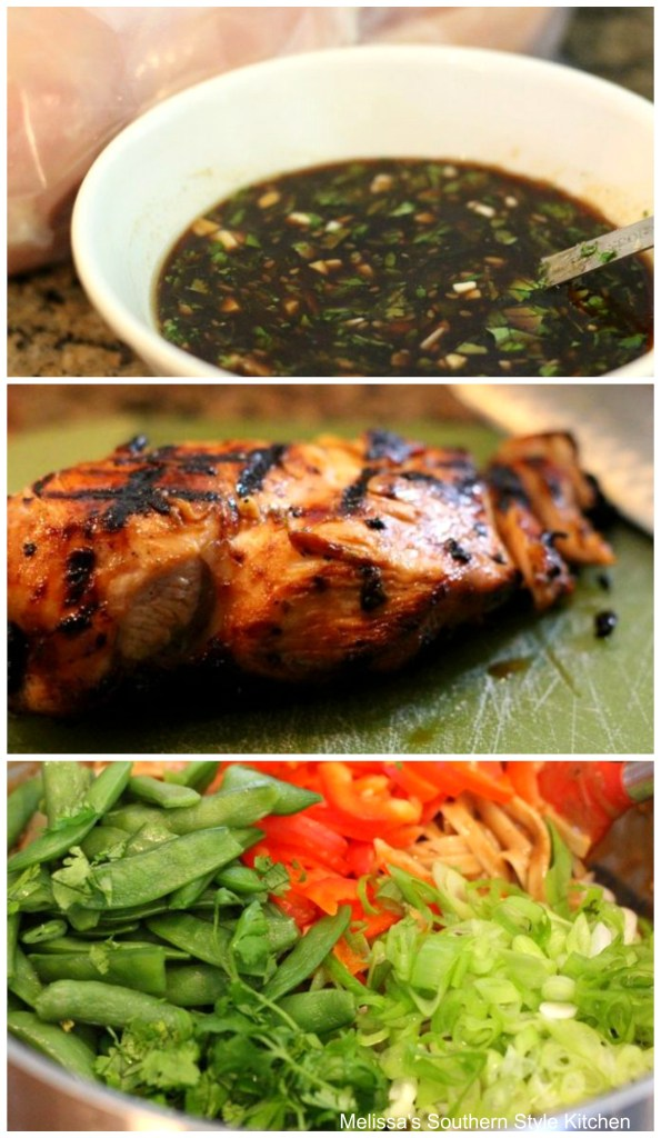 step-by-step images and ingredients for sesame chicken