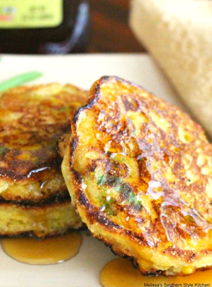 Corn Cake Fritters drizzled with honey