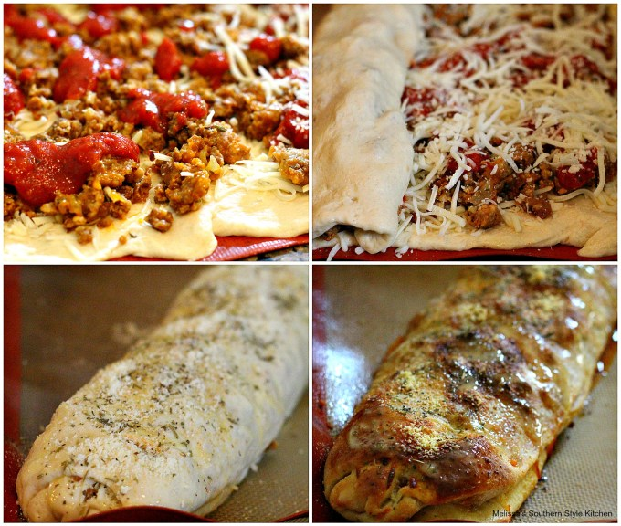 step by step pictures with pizza dough and italian sausage
