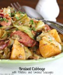 Braised Cabbage With Potatoes And Smoked Sausages