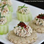 Garlic-Herb Cheese Canapes With Fresh Chives And Sundried Tomatoes