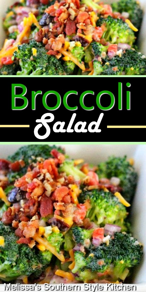 Filled with bacon, cheese and pecans this Broccoli Salad makes the perfect side dish for any meal #broccolisalad #broccolirecipes #bacon #salads #picnicfood #saladrecipes #broccolirecipes #sidedishrecies #dinnerideas #southernfood #southernrecipes