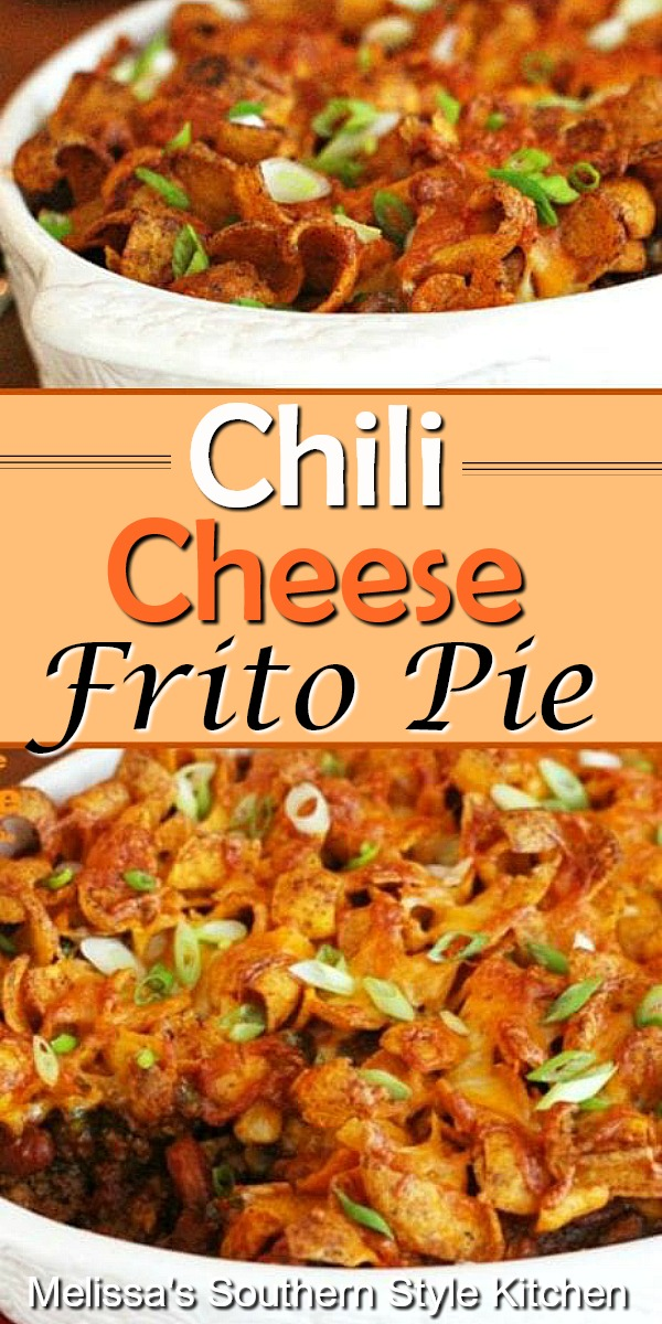 Enjoy this Chili Cheese Frito Pie topped with a dollop of sour cream and green onions #fritopie #chilicheesefritopie #fritos #chili #easygroundbeefrecipes #dinner #beef #hamburger #dinnerrecipes #southernfood #southernrecipes