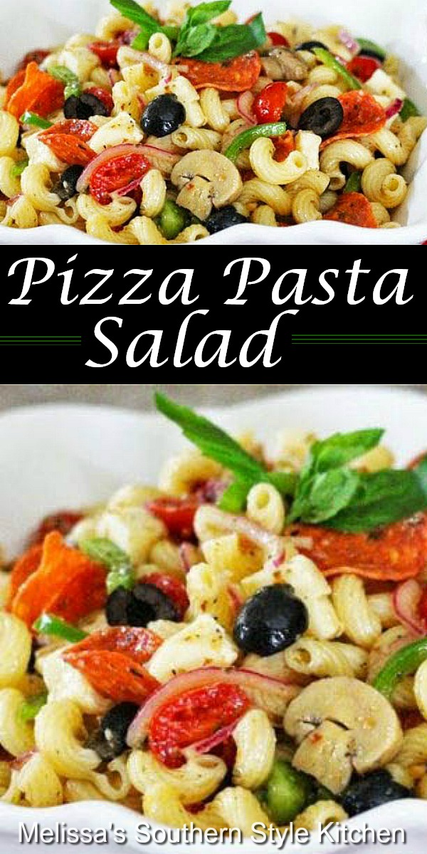 Add pizzazz to your pasta menu with this Pizza Pasta Salad #pastasalad #pizza #pizzapasta #pizzapastasalad #pastarecipes #sidedishrecipes #dinnerideas #dinner #southernfood #southernrecipes #Italian