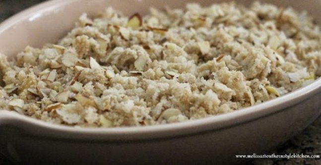 Unbaked Pineapple Crisp in a dish