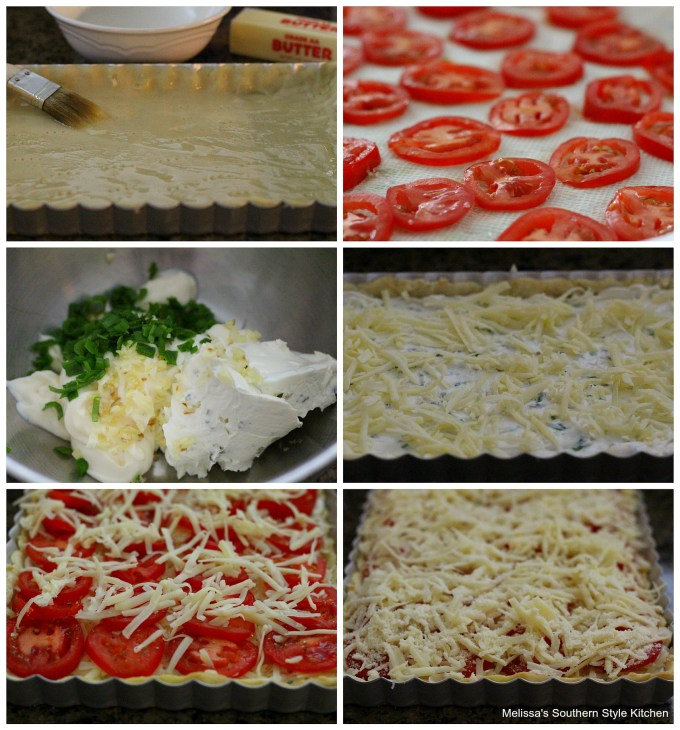 step-by-step images and ingredients for tomato tart