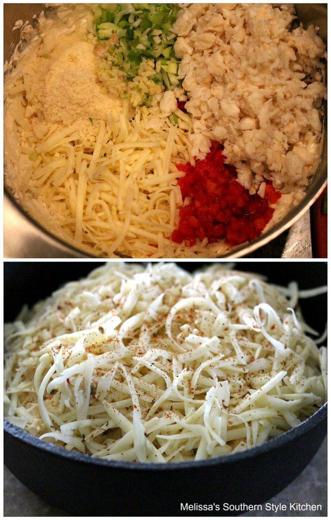 Ingredients for crab dip in a bowl