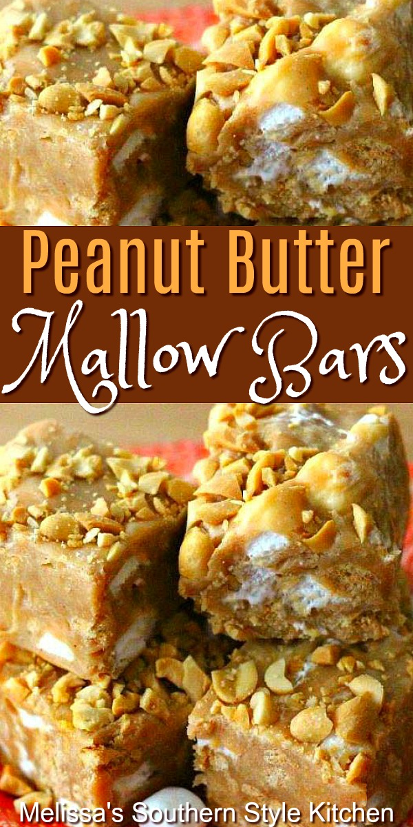 Ooey gooey Peanut Butter Mallow Bars will satisfy your sweet tooth in a hurry! #peanutbutterbars #mallowbars #cookiebarts #candybars #desserts #dessertfoodrecipes #southernfood #southernrecipes #holidayrecipes #holidayrecipes #christmascandy