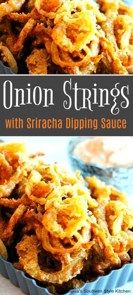 Onion Strings With Creamy Sriracha Dipping Sauce