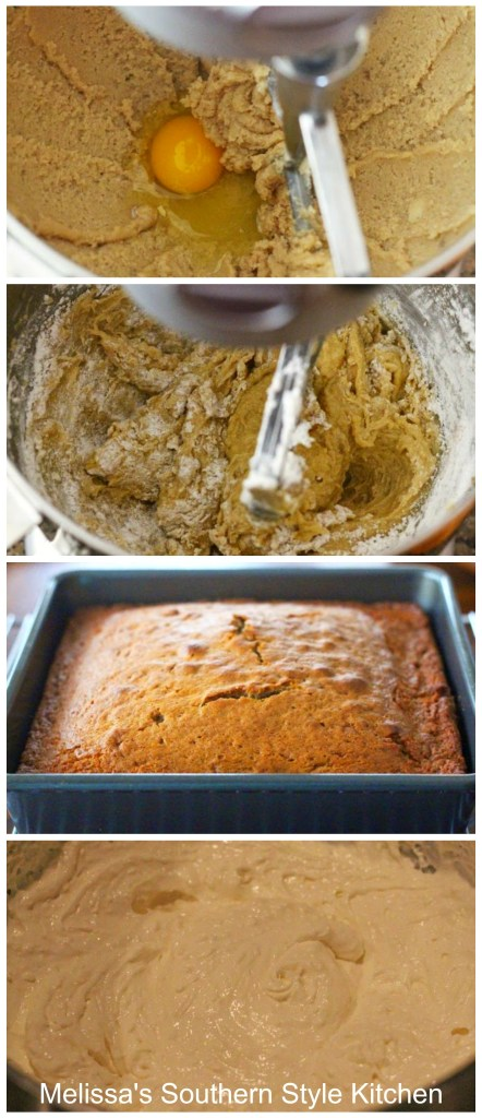 step-by-step images and ingredients to bake cake