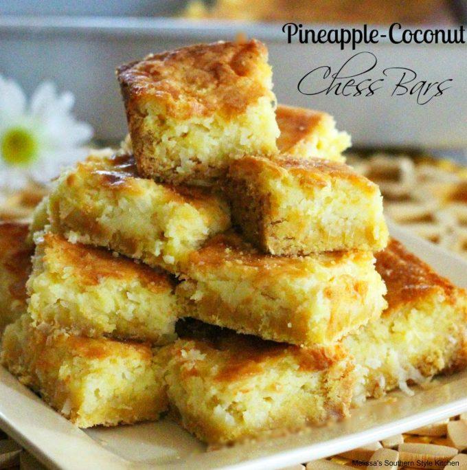 Pineapple Coconut Chess Bars
