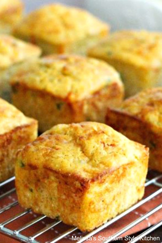 Kickin' Crab Corn Muffins on a cooling rack