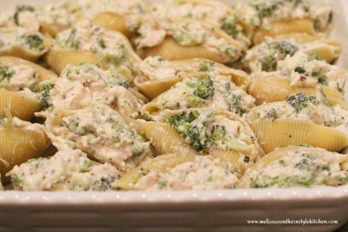 Chicken And Broccoli Stuffed Shells With Alfredo Sauce